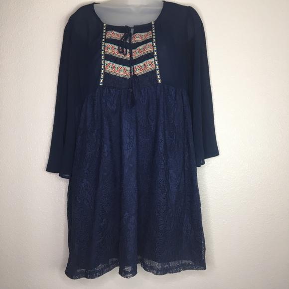 0cdc07aa55 Dresses   Boho Baby Doll Style Embroidered Navy Blue Dress   Poshmark